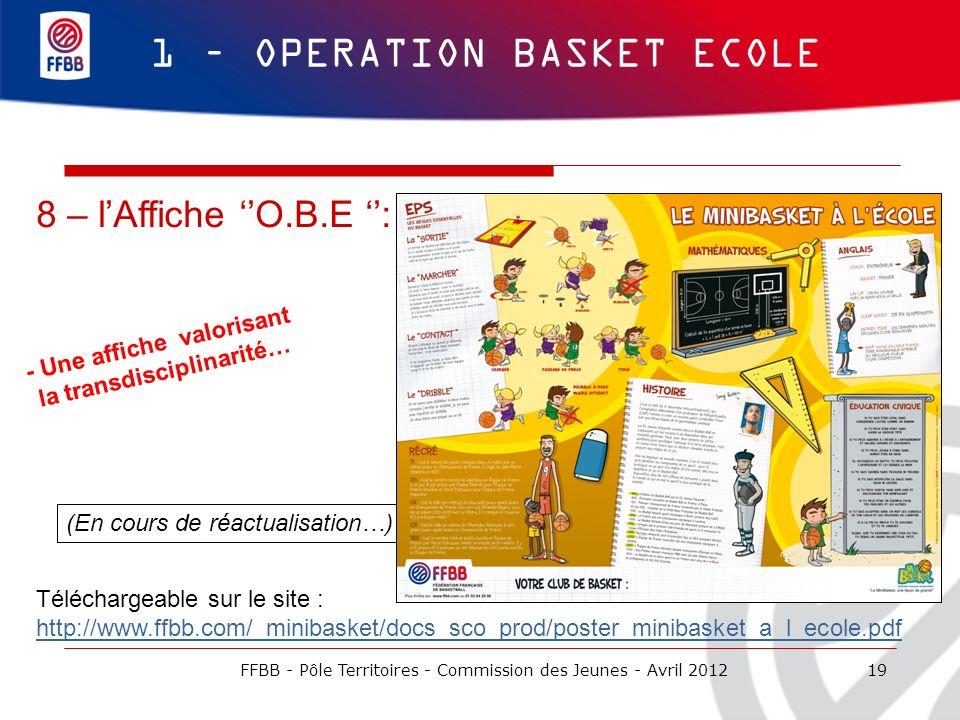 19 1 – OPERATION BASKET ECOLE 8 – lAffiche O.B.E : - Une affiche valorisant la transdisciplinarité… (En cours de réactualisation…) Téléchargeable sur