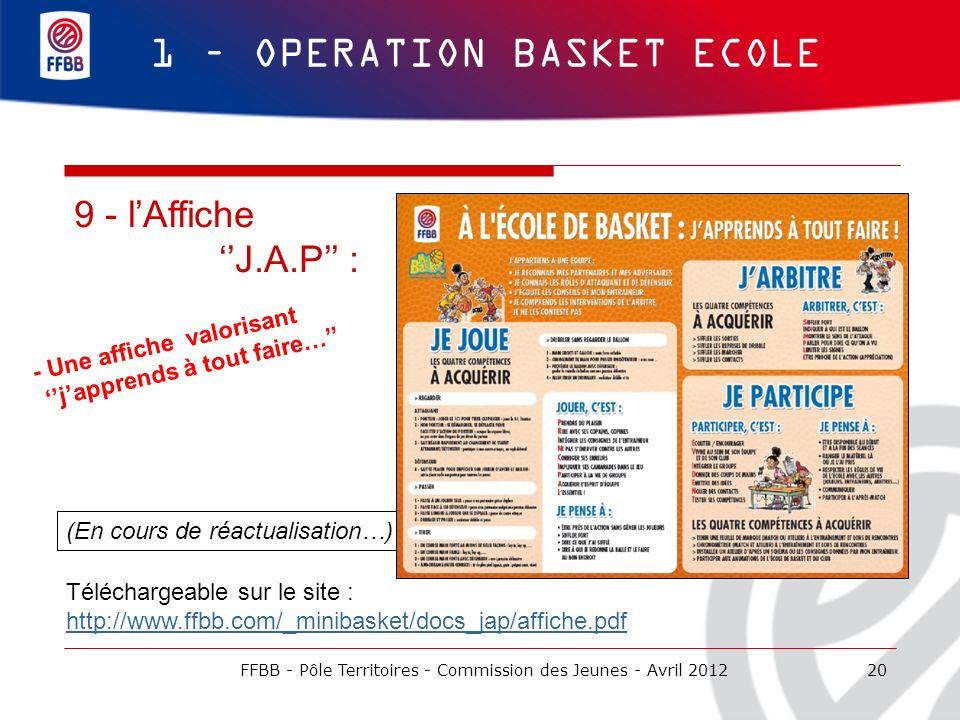 (En cours de réactualisation…) 20 1 – OPERATION BASKET ECOLE 9 - lAffiche J.A.P : - Une affiche valorisant japprends à tout faire… Téléchargeable sur