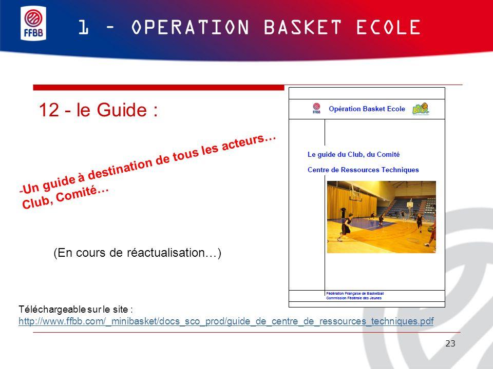 23 1 – OPERATION BASKET ECOLE 12 - le Guide : Téléchargeable sur le site : http://www.ffbb.com/_minibasket/docs_sco_prod/guide_de_centre_de_ressources