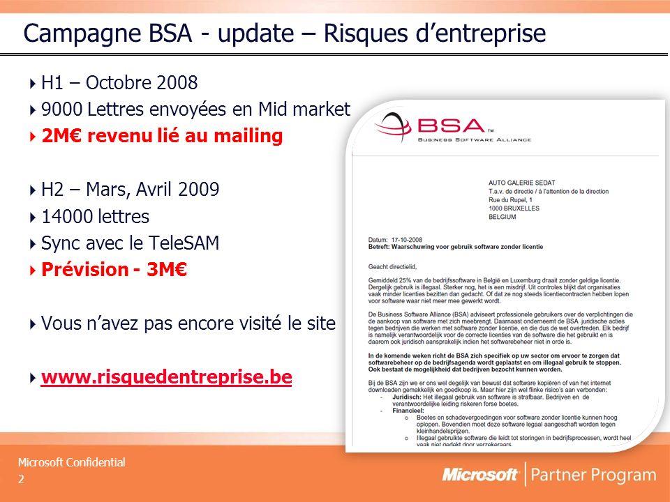 Microsoft Confidential Campagne BSA - update – Risques dentreprise H1 – Octobre 2008 9000 Lettres envoyées en Mid market 2M revenu lié au mailing H2 – Mars, Avril 2009 14000 lettres Sync avec le TeleSAM Prévision - 3M Vous navez pas encore visité le site www.risquedentreprise.be 2