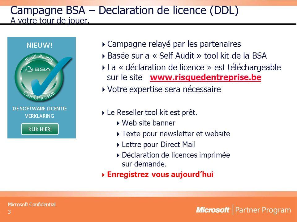 Microsoft Confidential 3 Campagne BSA – Declaration de licence (DDL) A votre tour de jouer.