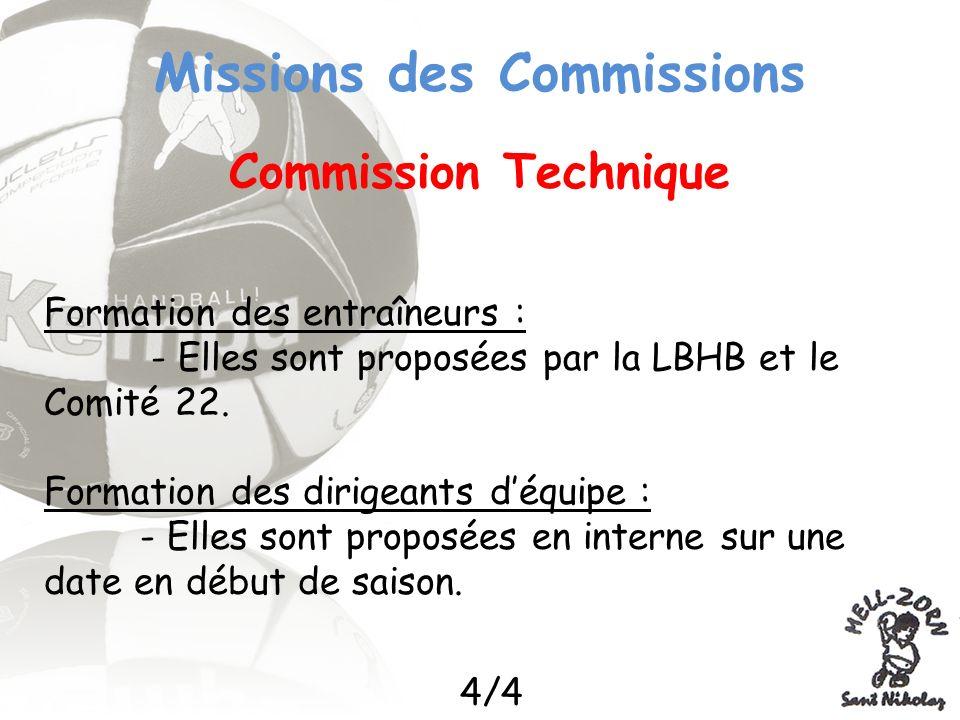 Missions des Commissions Commission Technique Formation des entraîneurs : - Elles sont proposées par la LBHB et le Comité 22. Formation des dirigeants