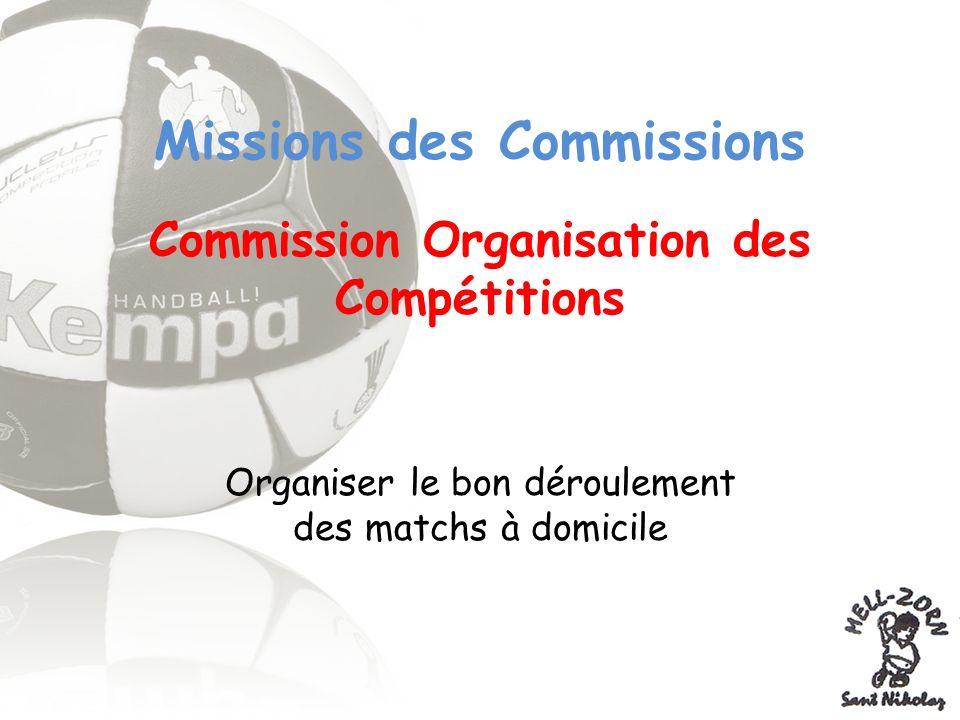 Missions des Commissions Commission Organisation des Compétitions Organiser le bon déroulement des matchs à domicile