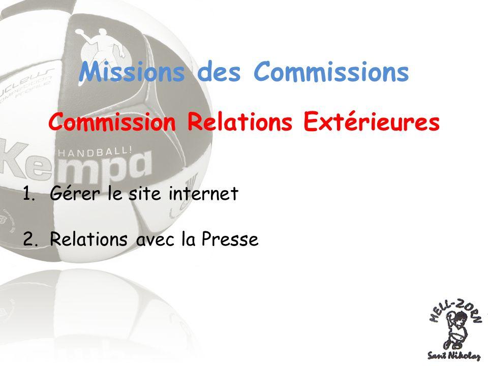 Missions des Commissions Commission Relations Extérieures 1.Gérer le site internet 2.Relations avec la Presse