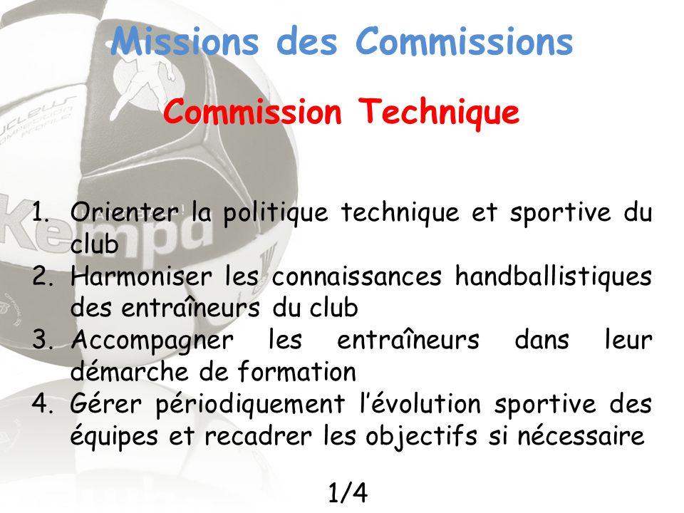 Missions des Commissions Commission Technique 1.Orienter la politique technique et sportive du club 2.Harmoniser les connaissances handballistiques de