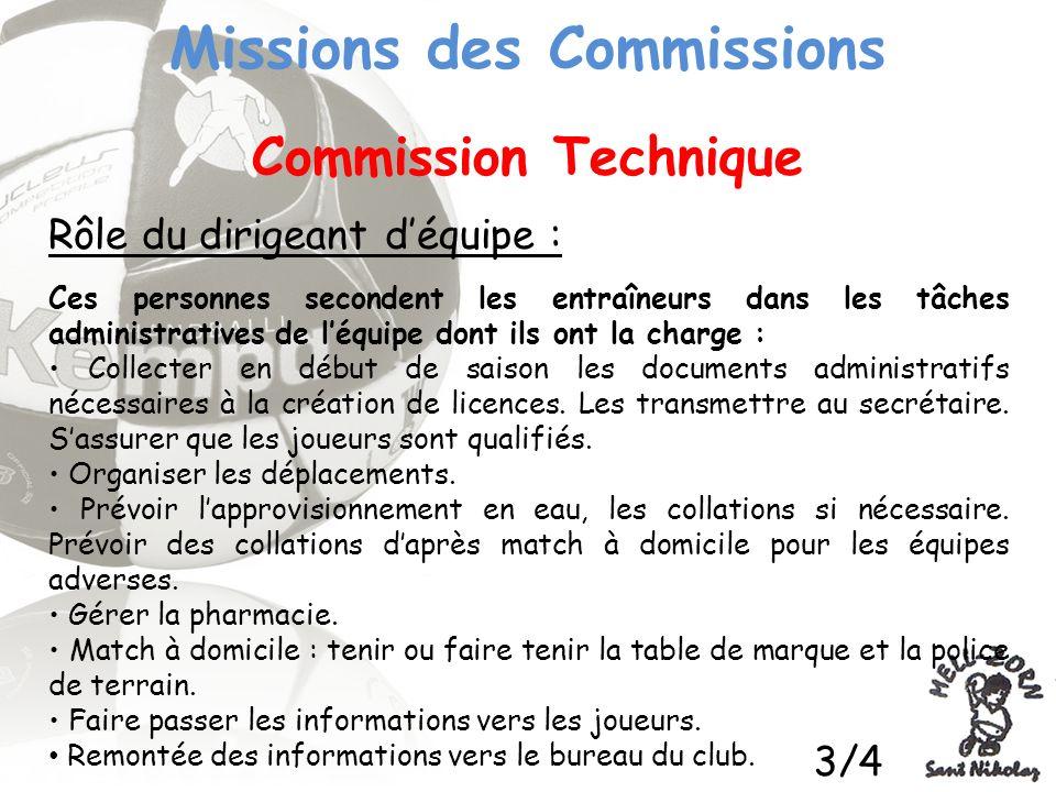 Missions des Commissions Commission Technique Rôle du dirigeant déquipe : Ces personnes secondent les entraîneurs dans les tâches administratives de l