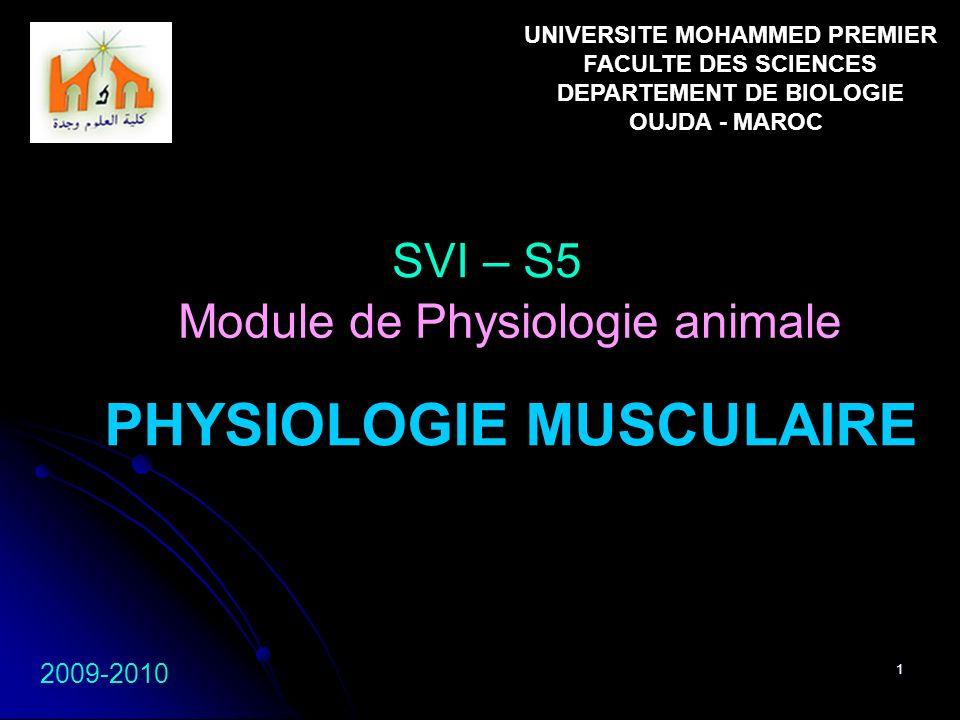 1 PHYSIOLOGIE MUSCULAIRE SVI – S5 2009-2010 Module de Physiologie animale UNIVERSITE MOHAMMED PREMIER FACULTE DES SCIENCES DEPARTEMENT DE BIOLOGIE OUJ