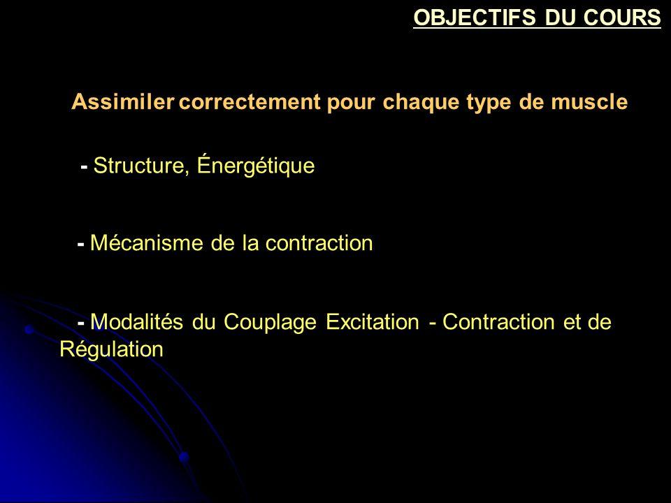 - Modalités du Couplage Excitation - Contraction et de Régulation OBJECTIFS DU COURS - Structure, Énergétique - Mécanisme de la contraction Assimiler