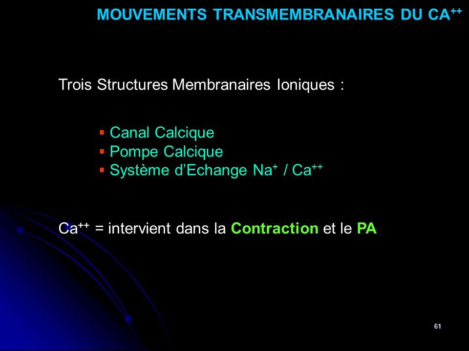 61 Canal Calcique Pompe Calcique Système dEchange Na + / Ca ++ MOUVEMENTS TRANSMEMBRANAIRES DU CA ++ Ca ++ = intervient dans la Contraction et le PA T