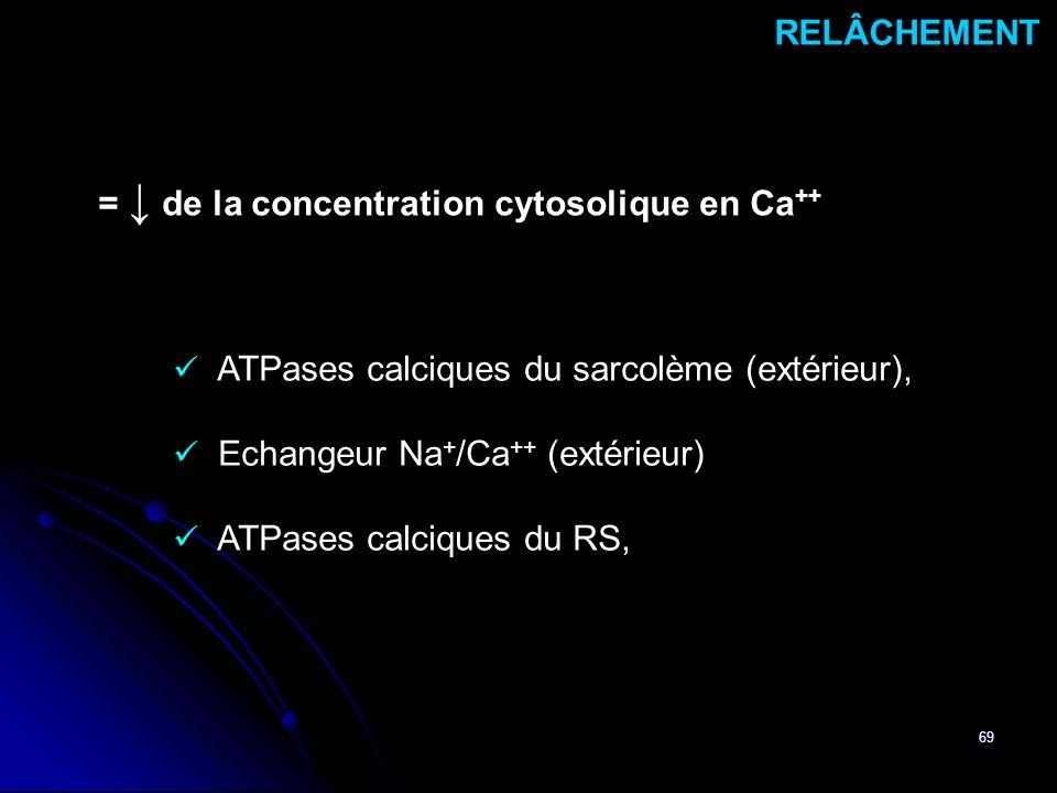 69 ATPases calciques du sarcolème (extérieur), Echangeur Na + /Ca ++ (extérieur) ATPases calciques du RS, RELÂCHEMENT = de la concentration cytosoliqu