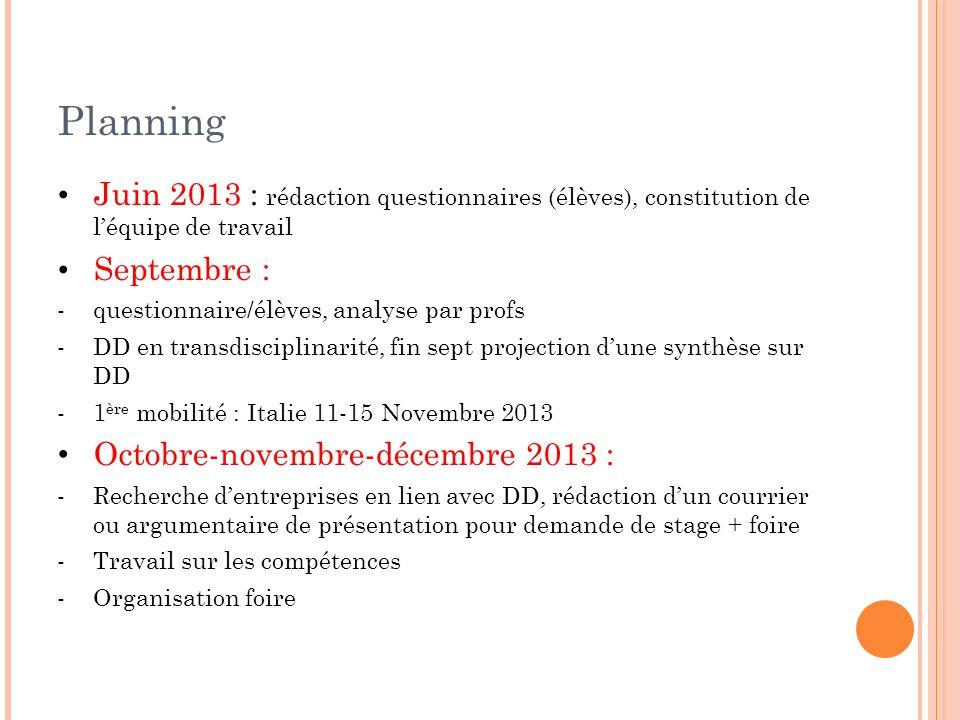 Planning Juin 2013 : rédaction questionnaires (élèves), constitution de léquipe de travail Septembre : -questionnaire/élèves, analyse par profs -DD en