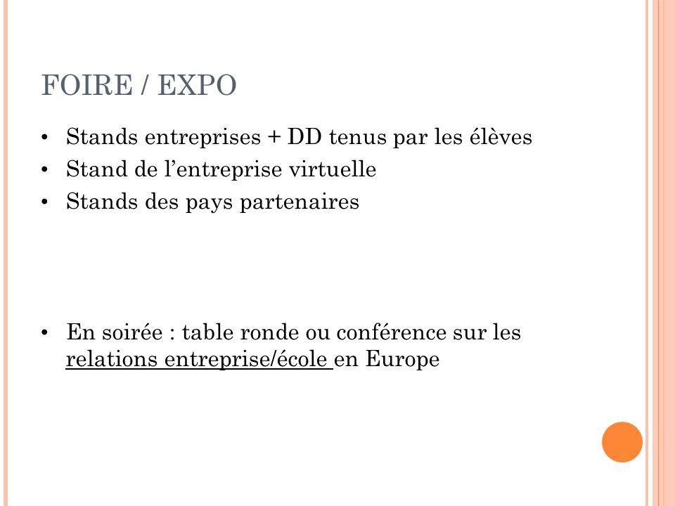 FOIRE / EXPO Stands entreprises + DD tenus par les élèves Stand de lentreprise virtuelle Stands des pays partenaires En soirée : table ronde ou confér