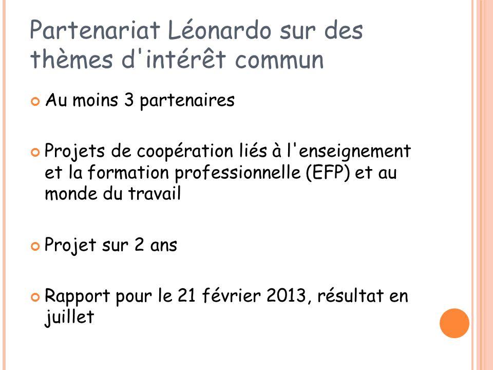 Partenariat Léonardo sur des thèmes d'intérêt commun Au moins 3 partenaires Projets de coopération liés à l'enseignement et la formation professionnel