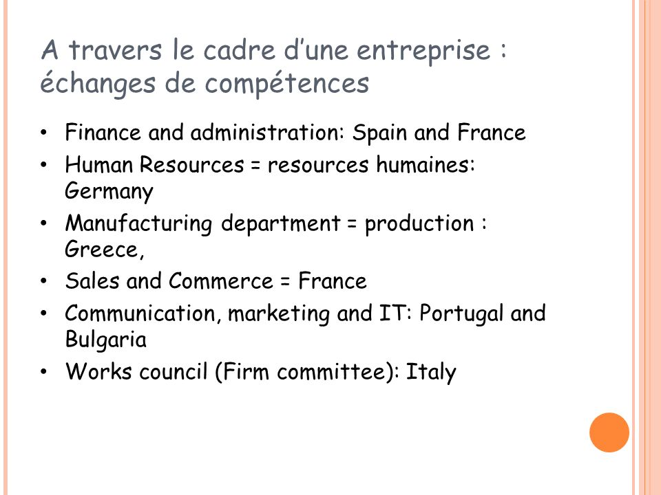 A travers le cadre dune entreprise : échanges de compétences Finance and administration: Spain and France Human Resources = resources humaines: German