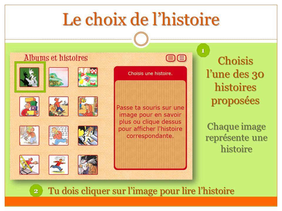 Le choix de lhistoire Choisis lune des 30 histoires proposées Chaque image représente une histoire Tu dois cliquer sur limage pour lire lhistoire 1 2