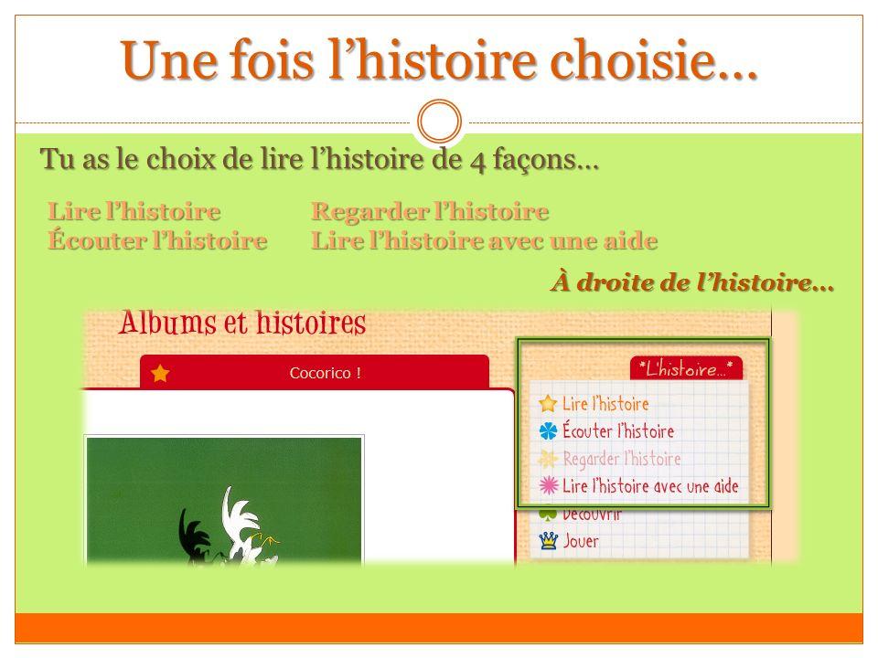 Une fois lhistoire choisie… Tu as le choix de lire lhistoire de 4 façons… Lire lhistoire Regarder lhistoire Écouter lhistoireLire lhistoire avec une aide À droite de lhistoire…