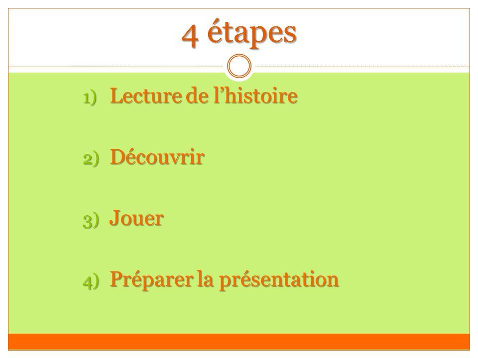 4 étapes 1) Lecture de lhistoire 2) Découvrir 3) Jouer 4) Préparer la présentation