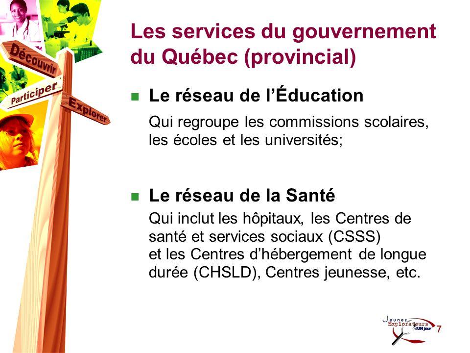 8 Les services municipaux Cest-à-dire les services offerts par les villes La Ville de Québec