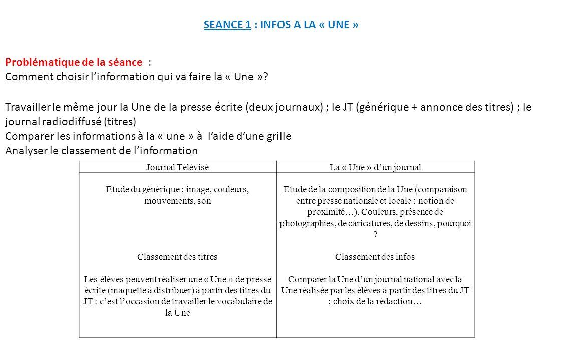 SEANCE 1 : INFOS A LA « UNE » Travailler le même jour la Une de la presse écrite (deux journaux) ; le JT (générique + annonce des titres) ; le journal