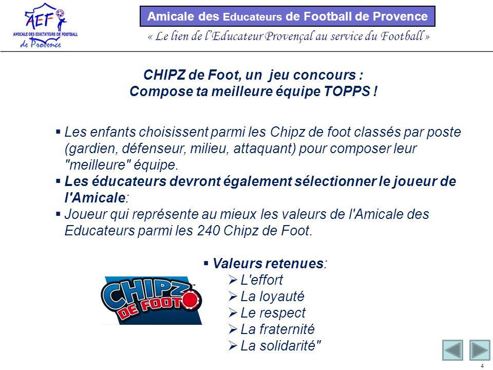 Amicale des Educateurs de Football de Provence « Le lien de lEducateur Provençal au service du Football » 4 Les enfants choisissent parmi les Chipz de foot classés par poste (gardien, défenseur, milieu, attaquant) pour composer leur meilleure équipe.