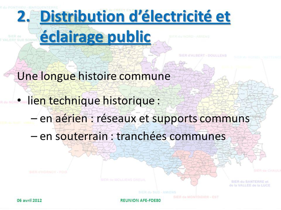 2.Distribution délectricité et éclairage public Une longue histoire commune lien technique historique : –en aérien : réseaux et supports communs –en s