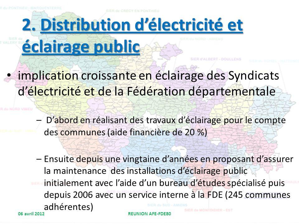 implication croissante en éclairage des Syndicats délectricité et de la Fédération départementale – Dabord en réalisant des travaux déclairage pour le