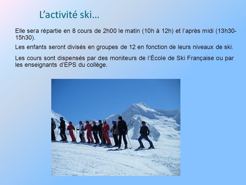 Lactivité ski… Les cours sont dispensés par des moniteurs de lÉcole de Ski Française ou par les enseignants dEPS du collège.