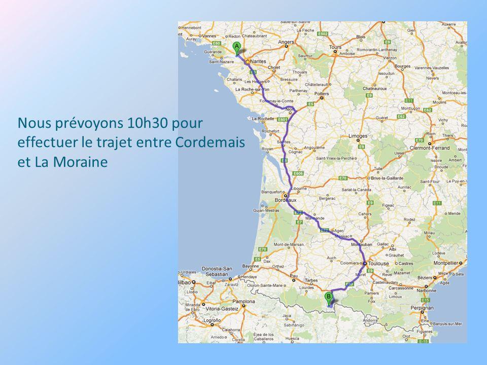 Nous prévoyons 10h30 pour effectuer le trajet entre Cordemais et La Moraine