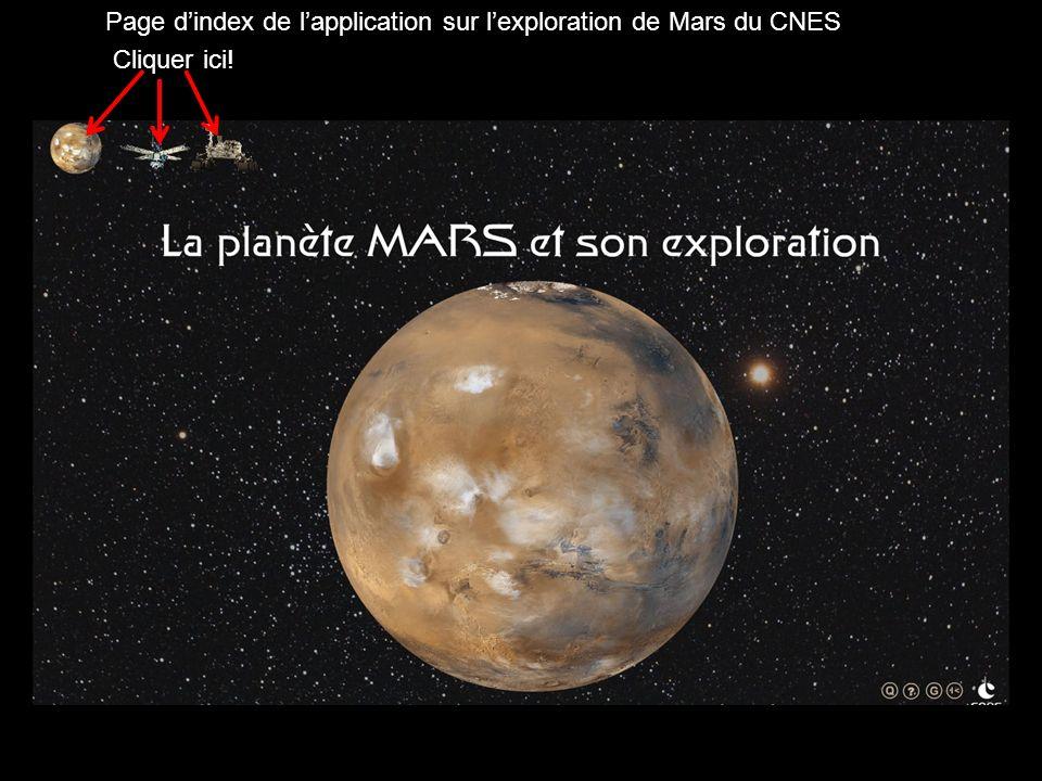 Page dindex de lapplication sur lexploration de Mars du CNES Cliquer ici!