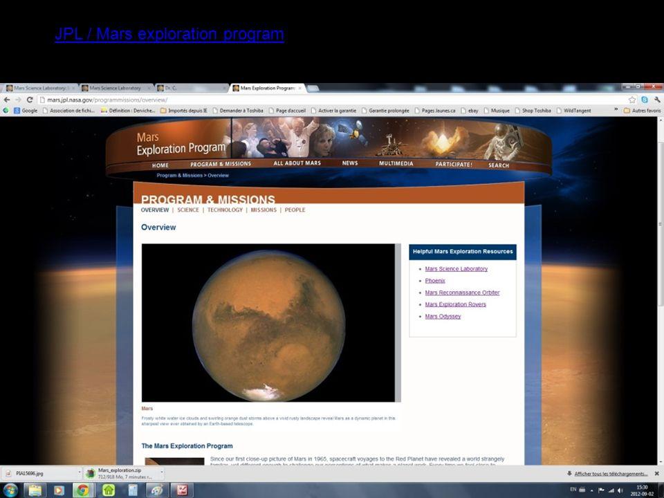 Site du JPL/ Curiosity