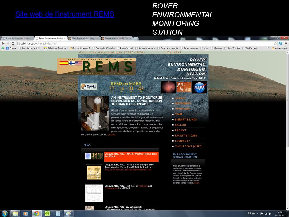 Site web de l'instrument REMS ROVER ENVIRONMENTAL MONITORING STATION