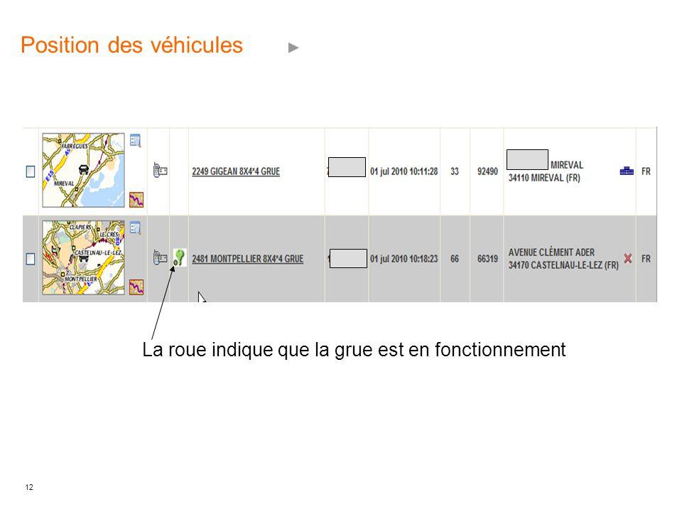12 Position des véhicules La roue indique que la grue est en fonctionnement