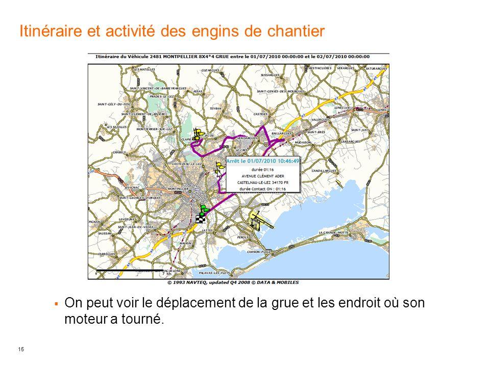 15 Itinéraire et activité des engins de chantier On peut voir le déplacement de la grue et les endroit où son moteur a tourné.