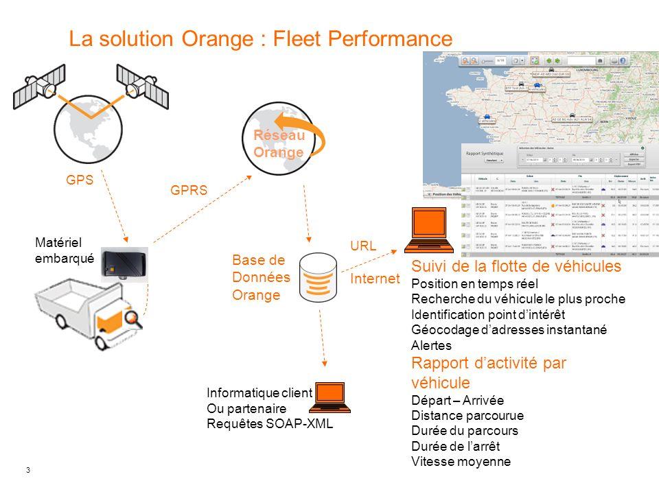 3 La solution Orange : Fleet Performance GPRS Base de Données Orange Informatique client Ou partenaire Requêtes SOAP-XML Suivi de la flotte de véhicul