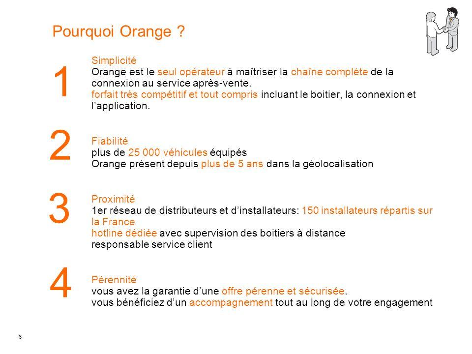 6 1 2 3 Pourquoi Orange ? Simplicité Orange est le seul opérateur à maîtriser la chaîne complète de la connexion au service après-vente. forfait très