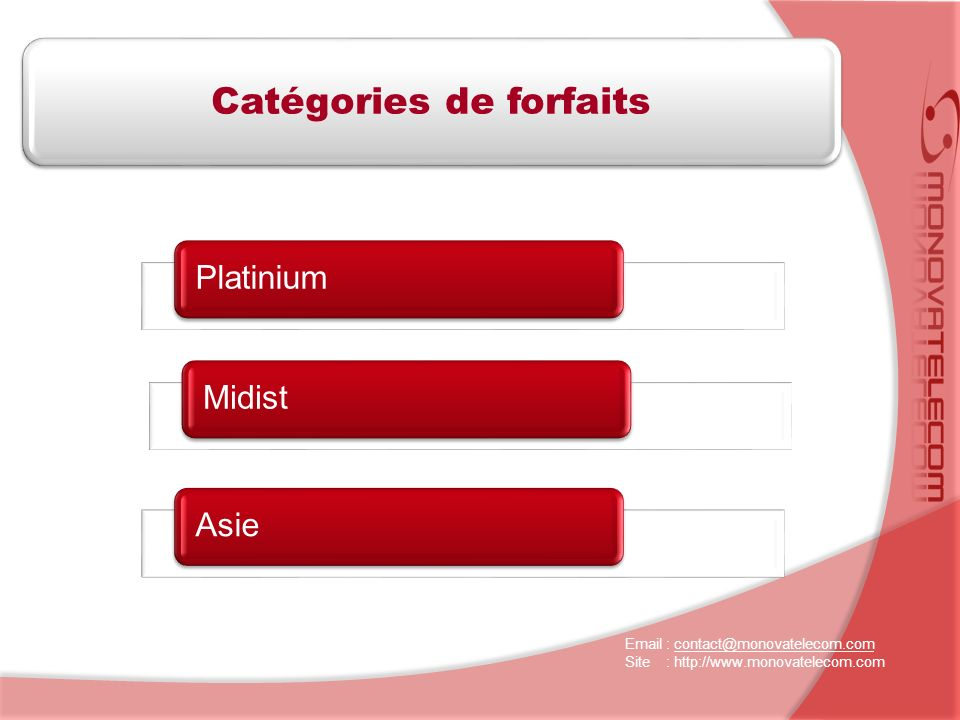 Platinium Catégories de forfaits MidistAsie Email : contact@monovatelecom.comcontact@monovatelecom.com Site : http://www.monovatelecom.com