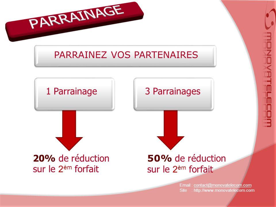 PARRAINEZ VOS PARTENAIRES 1 Parrainage3 Parrainages 20% de réduction sur le 2 èm forfait 50% de réduction sur le 2 èm forfait Email : contact@monovatelecom.comcontact@monovatelecom.com Site : http://www.monovatelecom.com