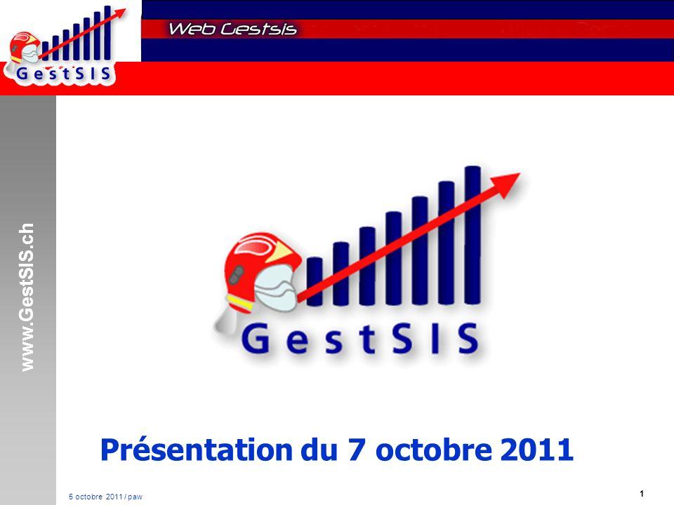 www.GestSIS.ch 52 5 octobre 2011 / paw Points faibles Actuellement pas d export possible avec le CET Pas d importation des protocoles d alarme Développement à temps perdu Rappel : 90% des pannes sont situés entre le clavier et la chaise
