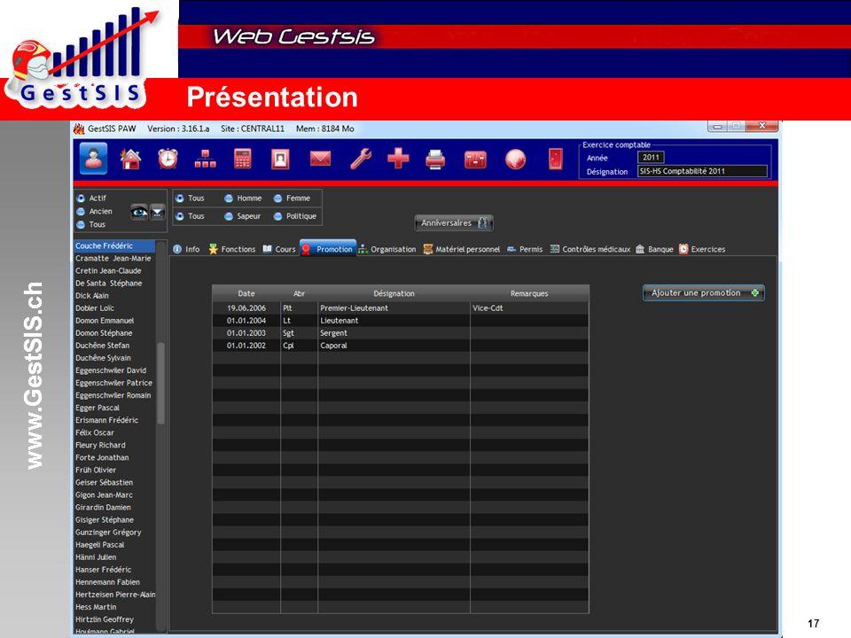 www.GestSIS.ch 17 5 octobre 2011 / paw Présentation