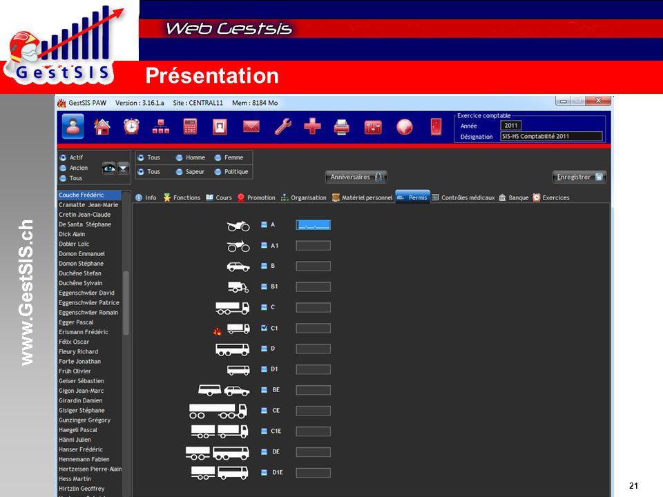 www.GestSIS.ch 21 5 octobre 2011 / paw Présentation