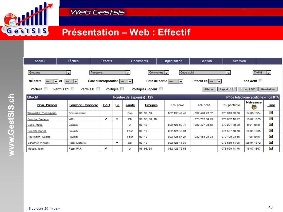 www.GestSIS.ch 40 5 octobre 2011 / paw Présentation – Web : Effectif