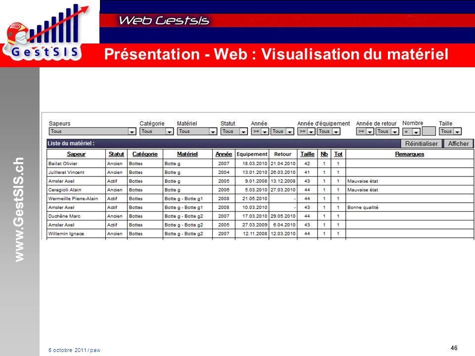 www.GestSIS.ch 46 5 octobre 2011 / paw Présentation - Web : Visualisation du matériel