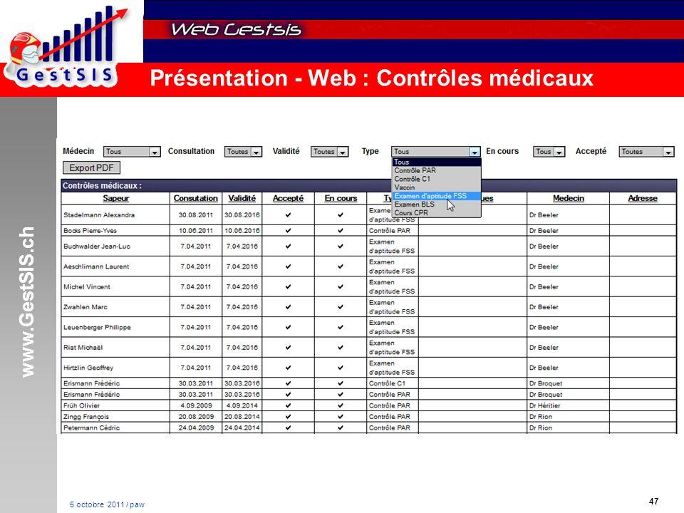 www.GestSIS.ch 47 5 octobre 2011 / paw Présentation - Web : Contrôles médicaux