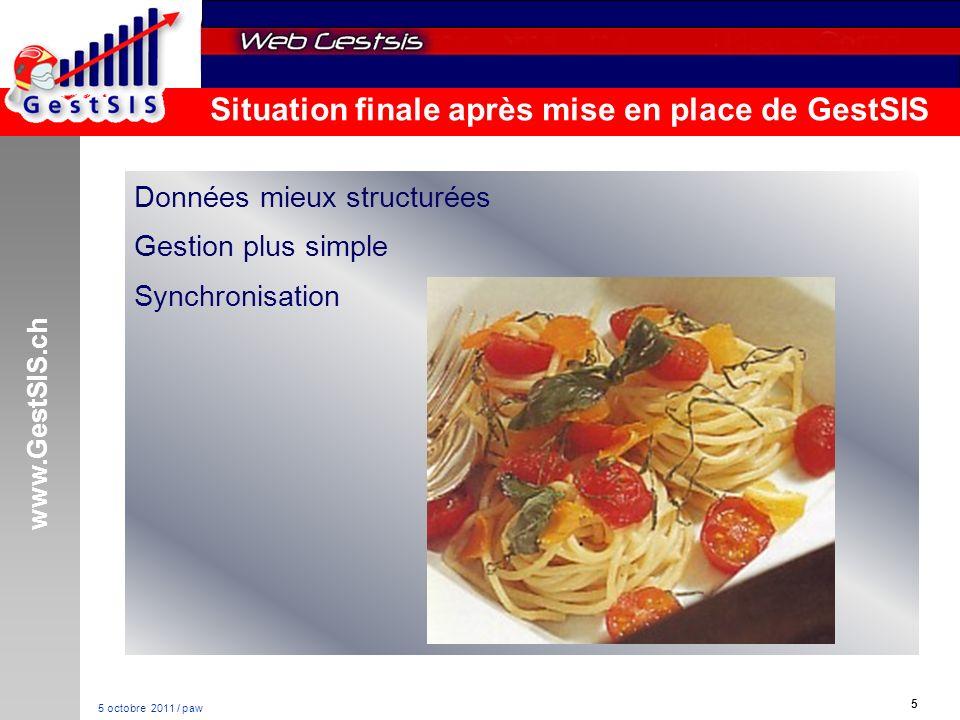 www.GestSIS.ch 5 5 octobre 2011 / paw Situation finale après mise en place de GestSIS Données mieux structurées Gestion plus simple Synchronisation