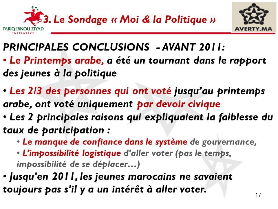 17 3. Le Sondage « Moi & la Politique » PRINCIPALES CONCLUSIONS - AVANT 2011: Le Printemps arabe, a été un tournant dans le rapport des jeunes à la po