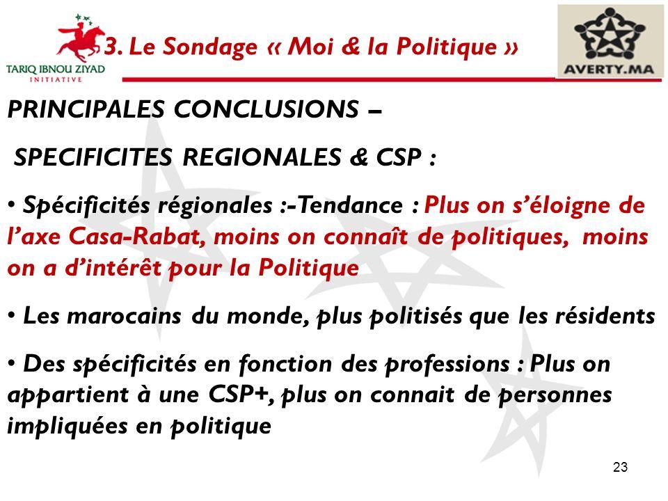 23 3. Le Sondage « Moi & la Politique » PRINCIPALES CONCLUSIONS – SPECIFICITES REGIONALES & CSP : Spécificités régionales :-Tendance : Plus on séloign