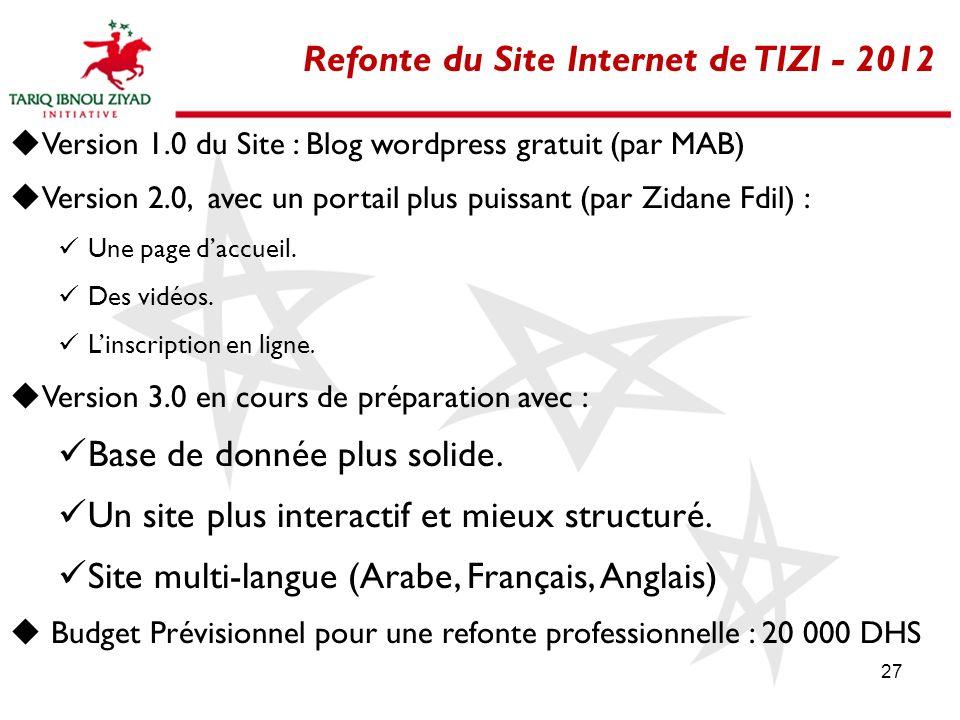 27 Refonte du Site Internet de TIZI - 2012 Version 1.0 du Site : Blog wordpress gratuit (par MAB) Version 2.0, avec un portail plus puissant (par Zida
