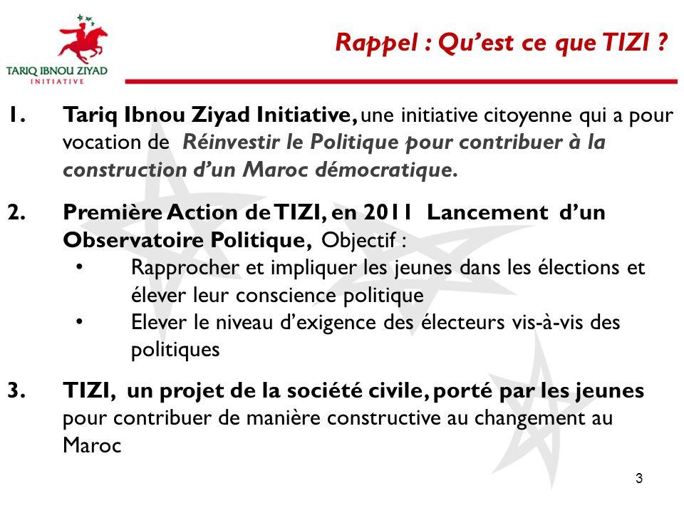 3 Rappel : Quest ce que TIZI ? 1.Tariq Ibnou Ziyad Initiative, une initiative citoyenne qui a pour vocation de Réinvestir le Politique pour contribuer