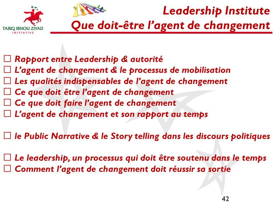 42 Leadership Institute Que doit-être lagent de changement Rapport entre Leadership & autorité Lagent de changement & le processus de mobilisation Les