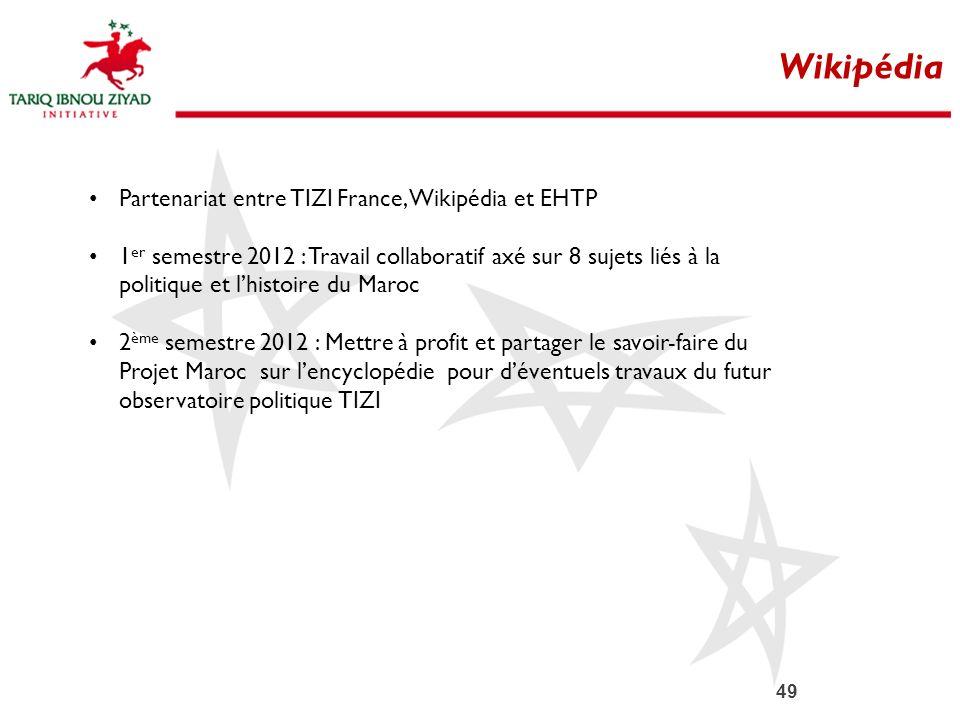 49 Wikipédia Partenariat entre TIZI France, Wikipédia et EHTP 1 er semestre 2012 : Travail collaboratif axé sur 8 sujets liés à la politique et lhisto